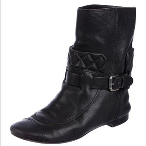 Chanel Leather Moto Boots 36.5